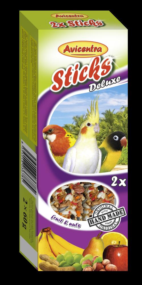 Avicentra sticks pro malé papoušky, ovoce+ořech, 2 ks