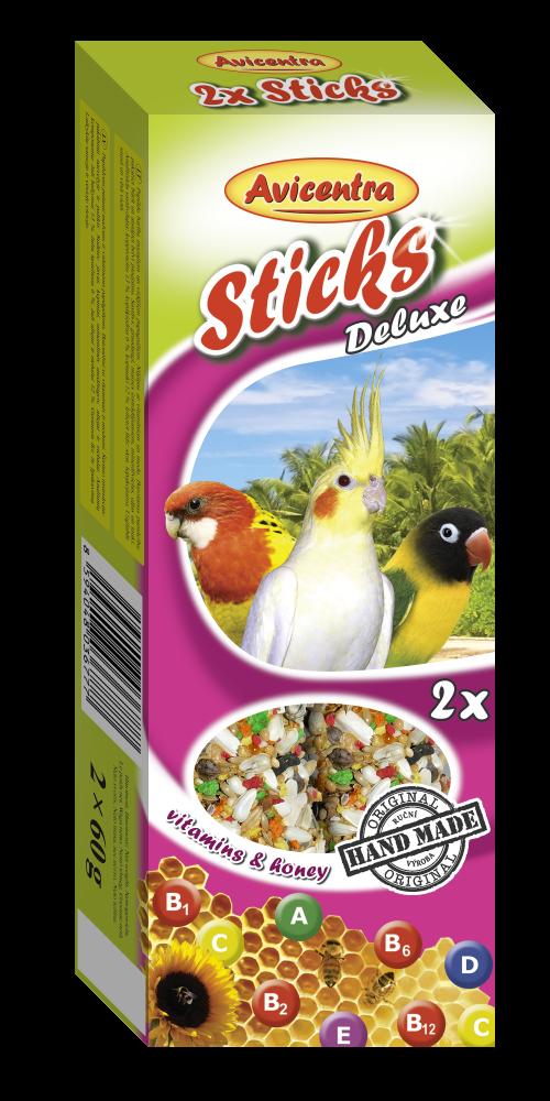 Avicentra sticks pro malé papoušky, vitamín+med, 2 ks